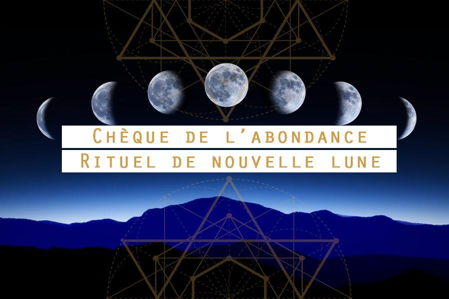chèque de l'abondance rituel nouvelle lune